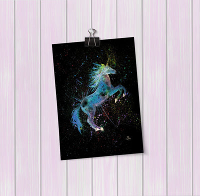Blue Unicorn Enchanted Art Mini Print
