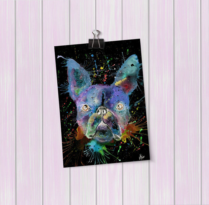 """Bruno"" Boston Terrier Enchanted Art Mini Print"