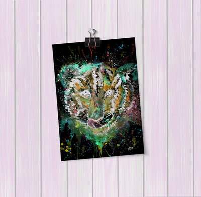 """Franklin"" Tiger Cub Face Enchanted Art Mini Print"