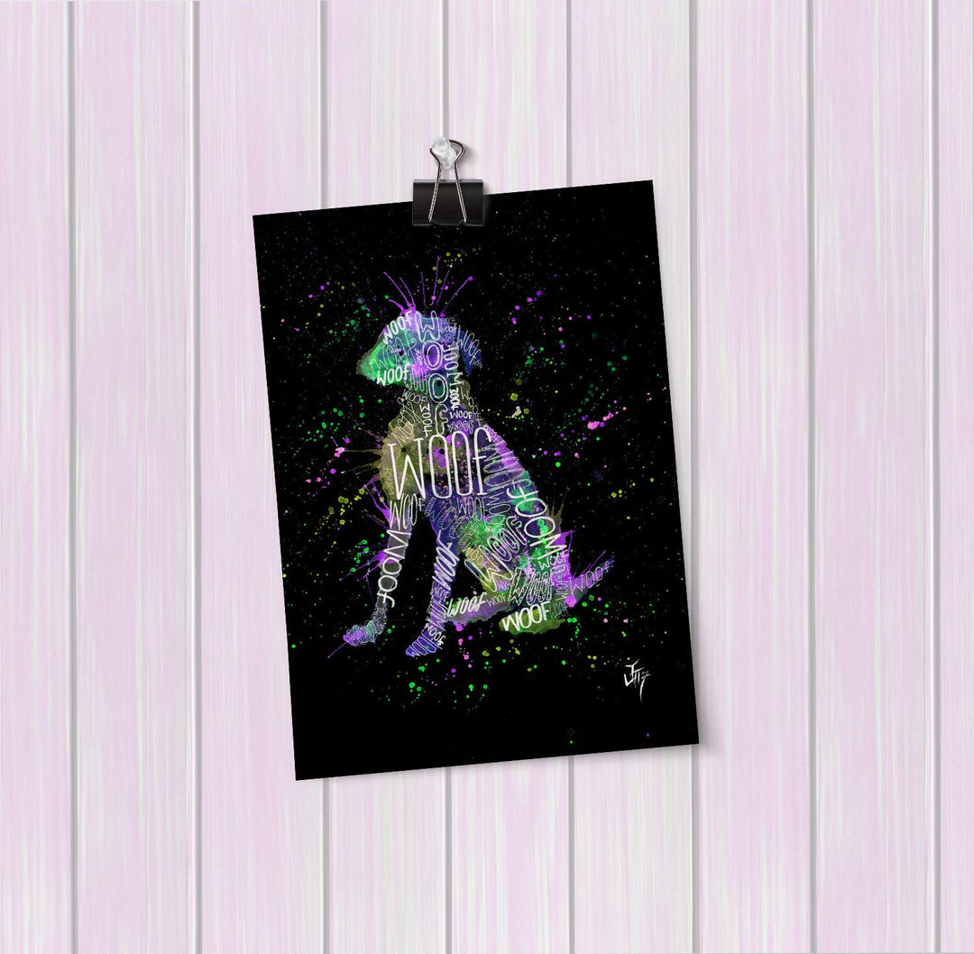 """Woof"" Purple Enchanted Art Mini Print"
