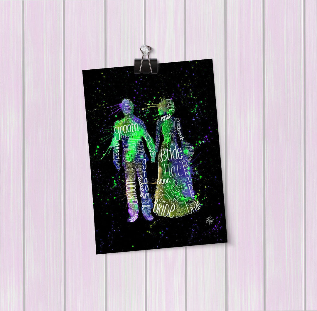 Bride & Groom (Green) Enchanted Art Mini Print