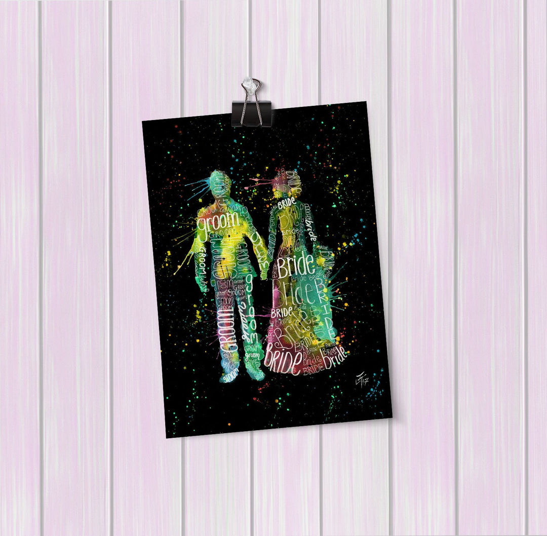 Bride & Groom Enchanted Art Mini Print