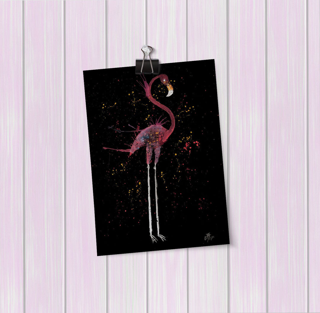"""Sheila"" Flamingo Enchanted Art Mini Print"
