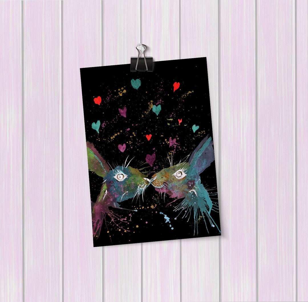 Bunnies in Love Enchanted Art Mini Print