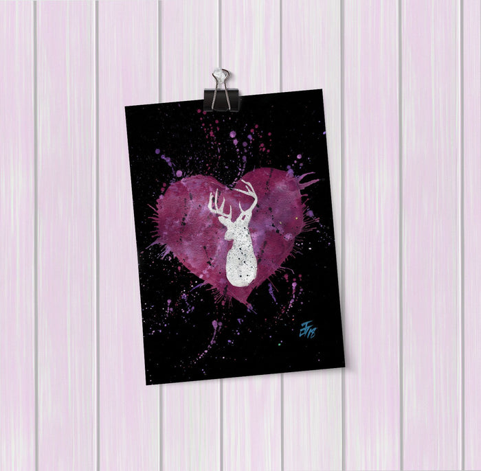 Stag Heart Enchanted Art Mini Print