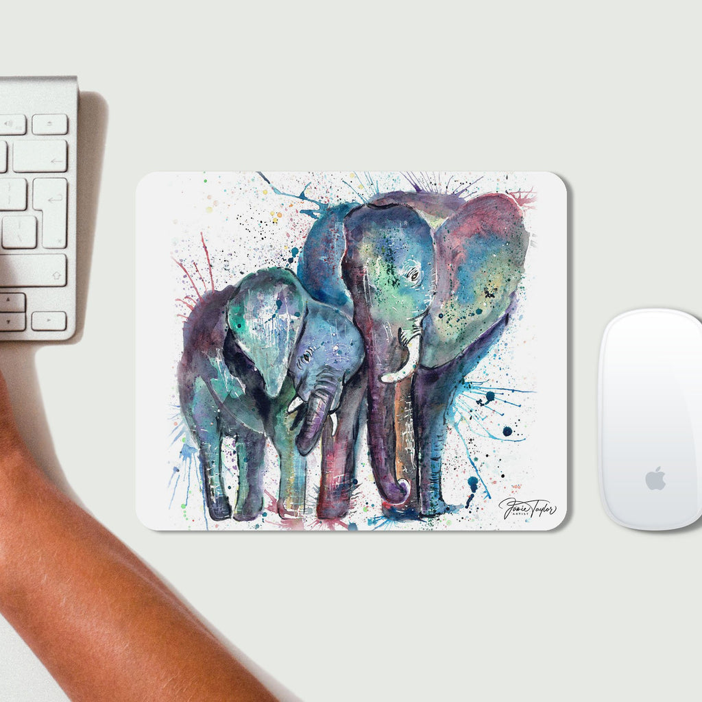 """Us"" Mummy & Babby Elephant Desk Mousemat"