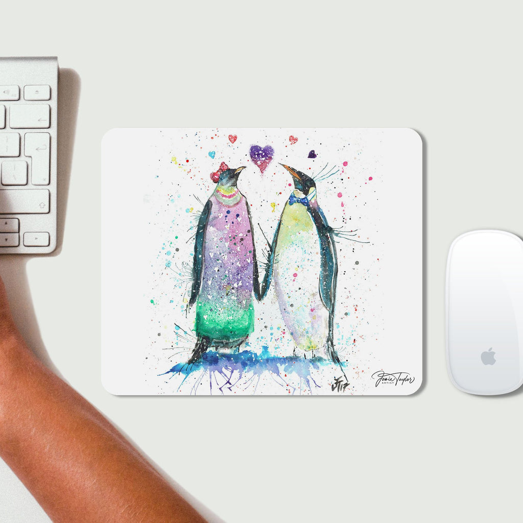 Valentines Penguins Desk Mousemat