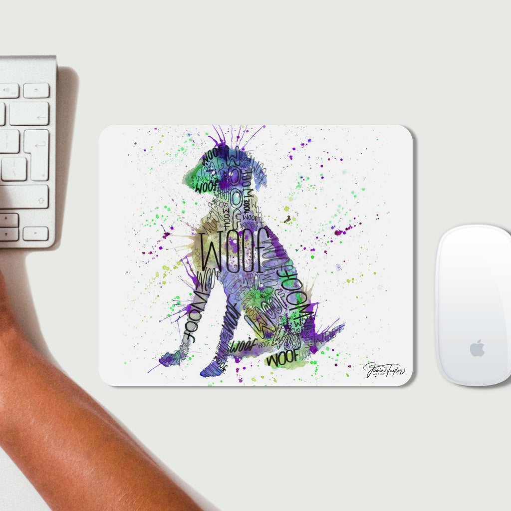 """Woof"" Purple Mousemat"
