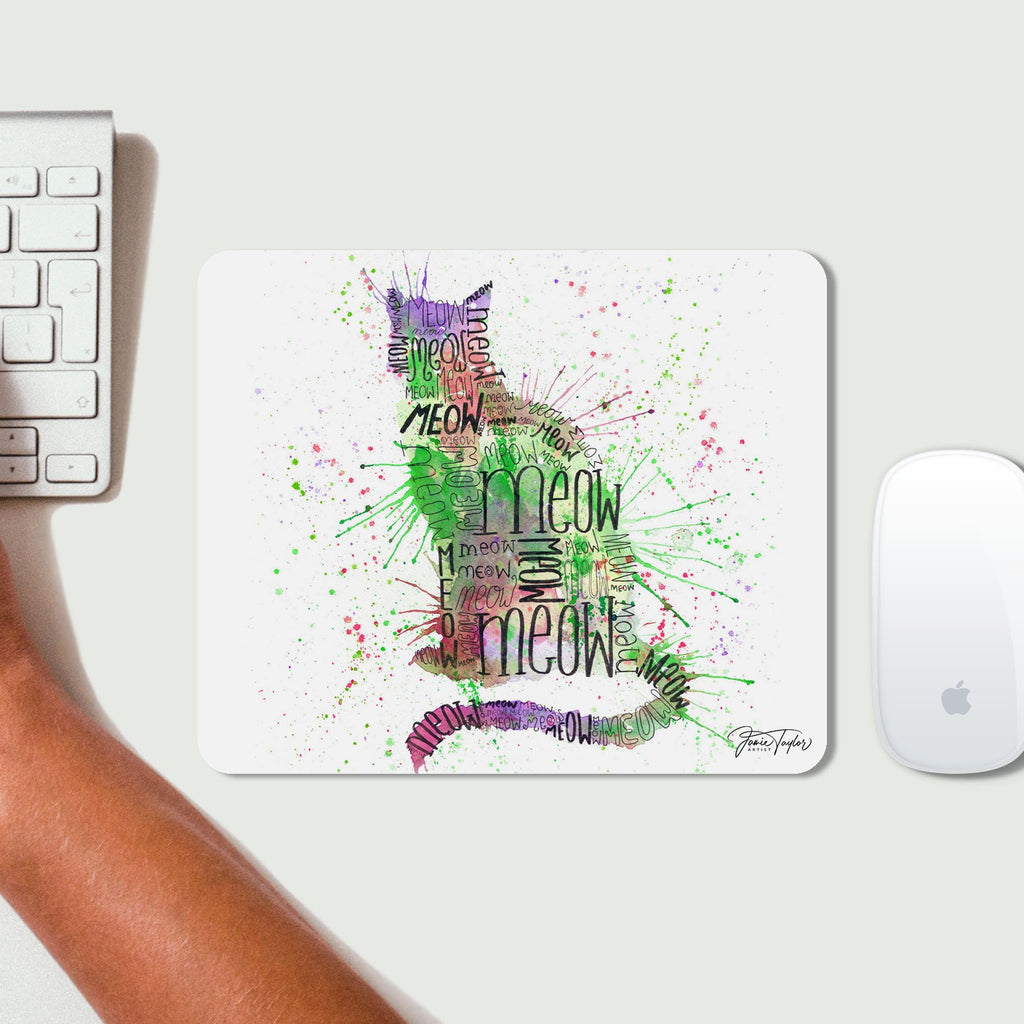 """Meow"" Green Desk Mousemat"