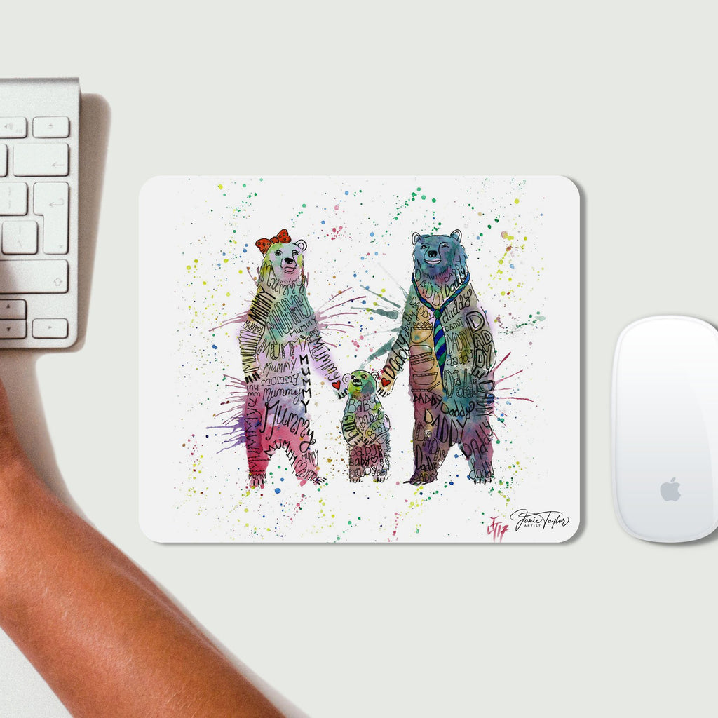 Mummy, Babby, Daddy Bears Mousemat