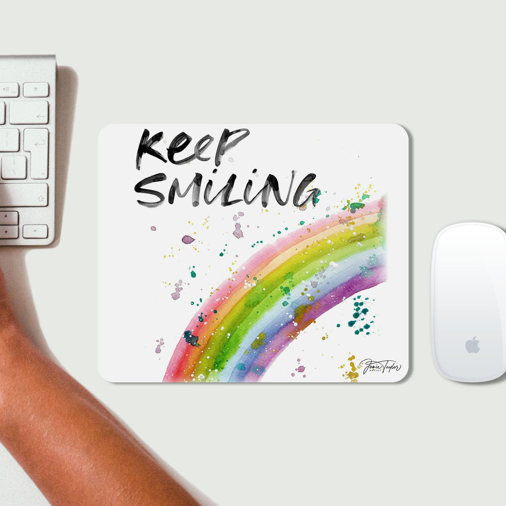 """Keep Smiling"" Rainbow Desk Mousemat"