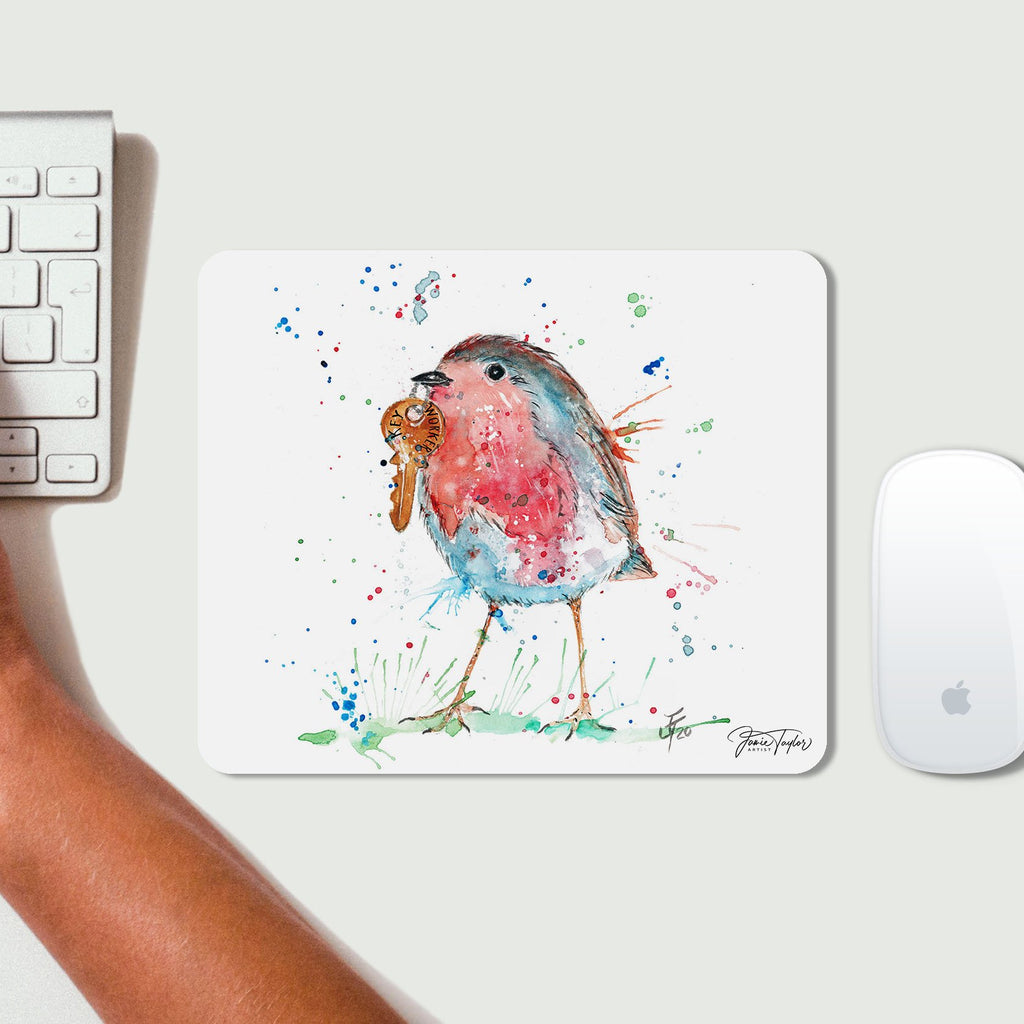 """Grateful"" Robin Desk Mousemat"