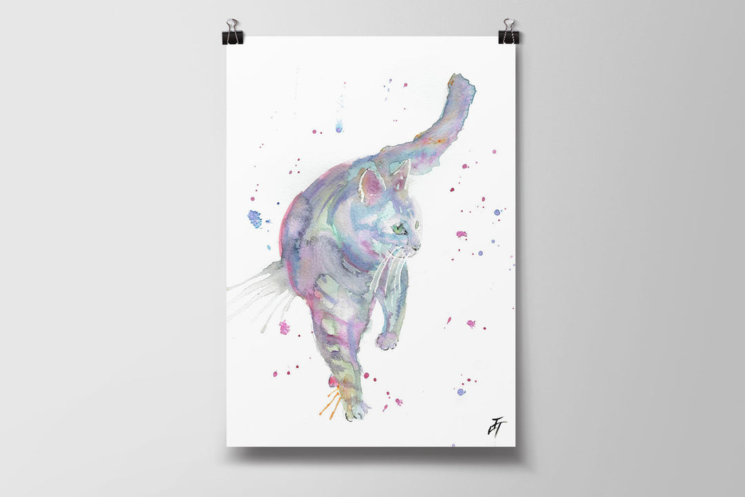 Rainbow Cat Art Poster Print