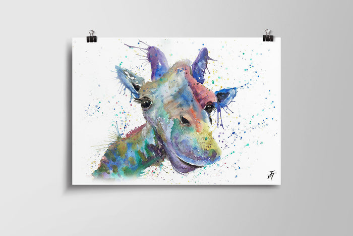 Smile (Colourful Giraffe) Art Poster Print
