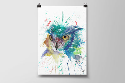Wise Owl Art Poster Print