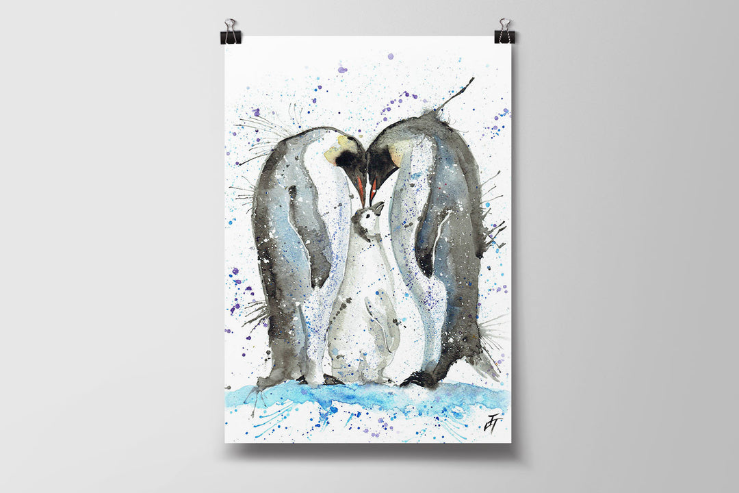Family Penguins Art Poster Print
