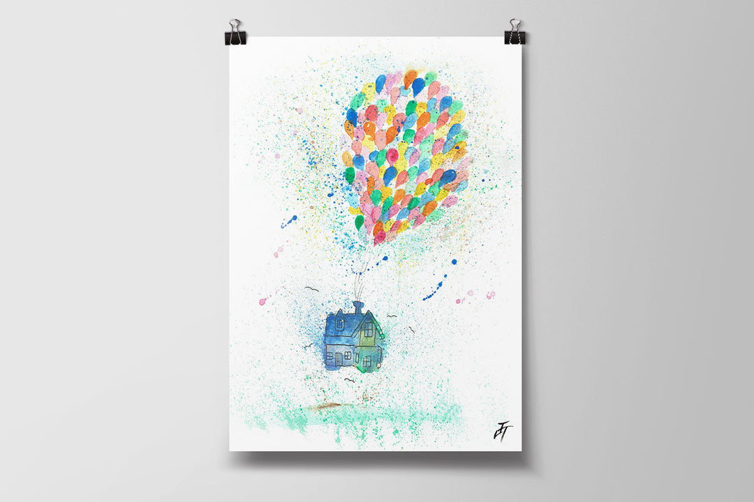 Balloon House Art Poster Print