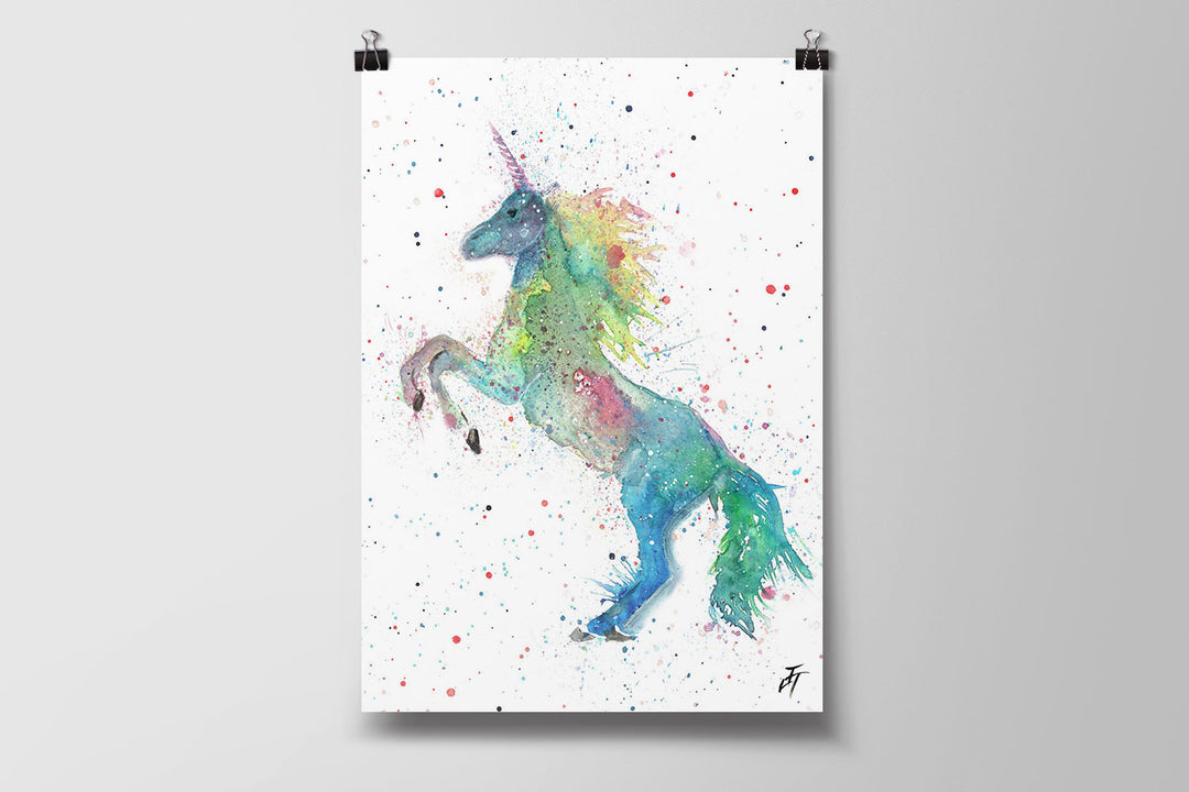 Rainbow Unicorn Art Poster Print