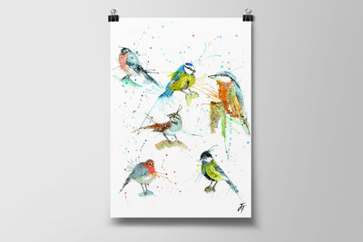 Brit Birds Art Poster Print
