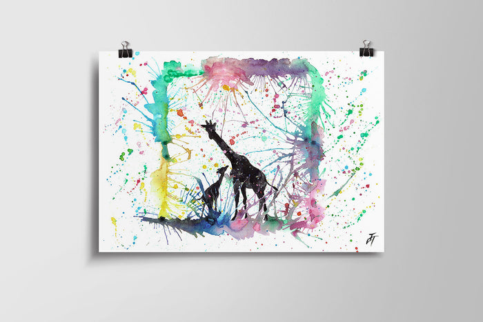 Little Giraffes Art Poster Print