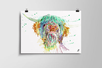 Highland Cow Art Poster Print