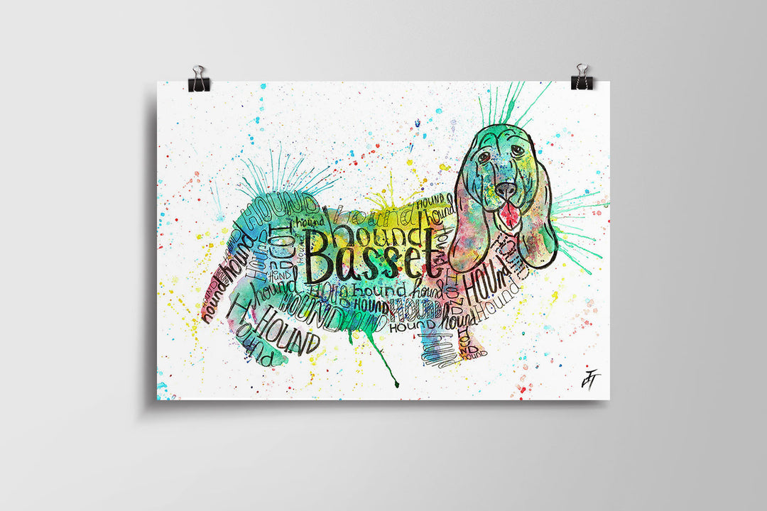 Basset Splash Art Poster Print