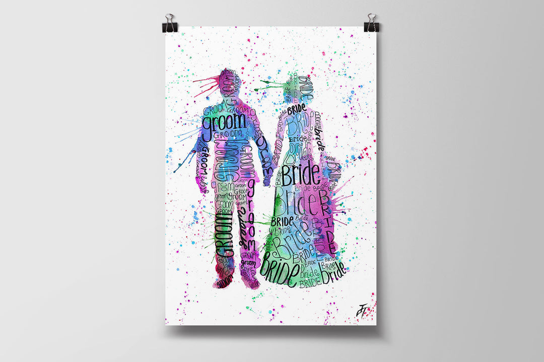 Bride and Groom (Pink) Art Poster Print