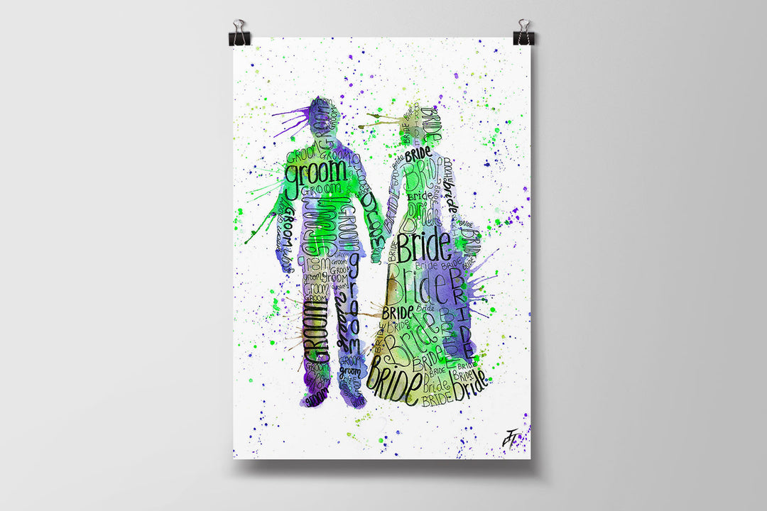 Bride and Groom (Green) Art Poster Print