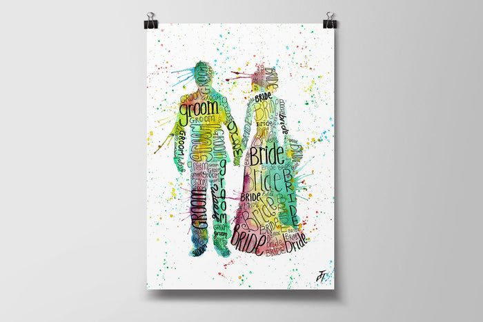 Bride and Groom Art Poster Print