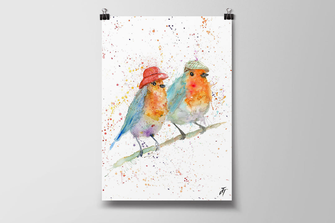 Mr & Mrs Robin Art Poster Print