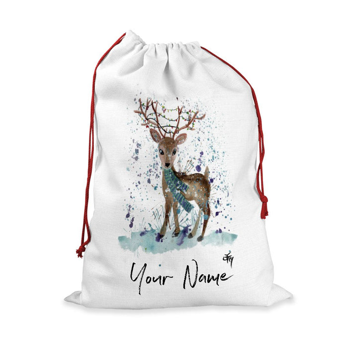 """Winter"" Deer Personalised Santa Sack"