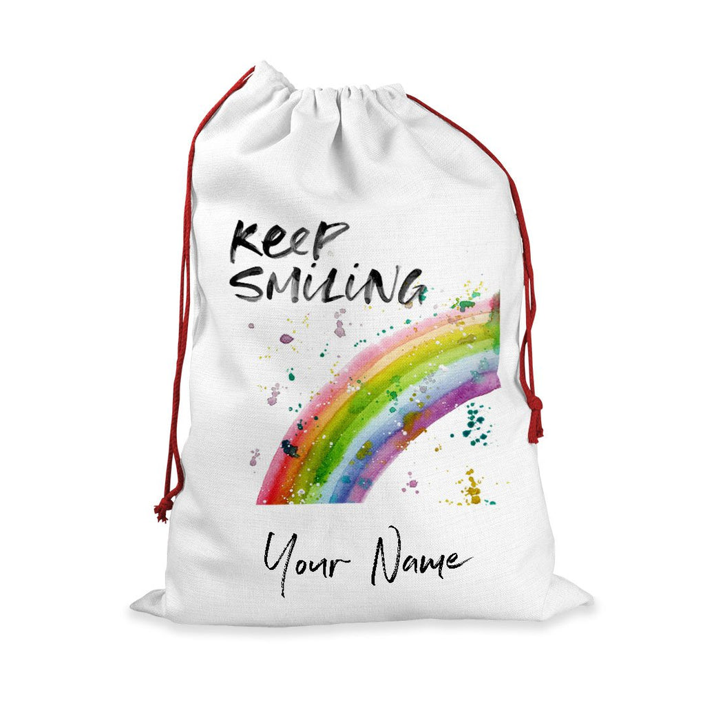 """Keep Smiling"" Rainbow Personalised Santa Sack"