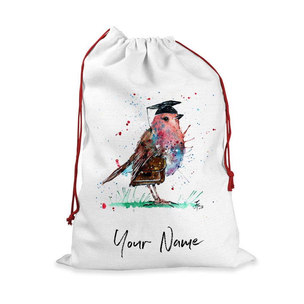 """Teach"" Robin Personalised Santa Sack"