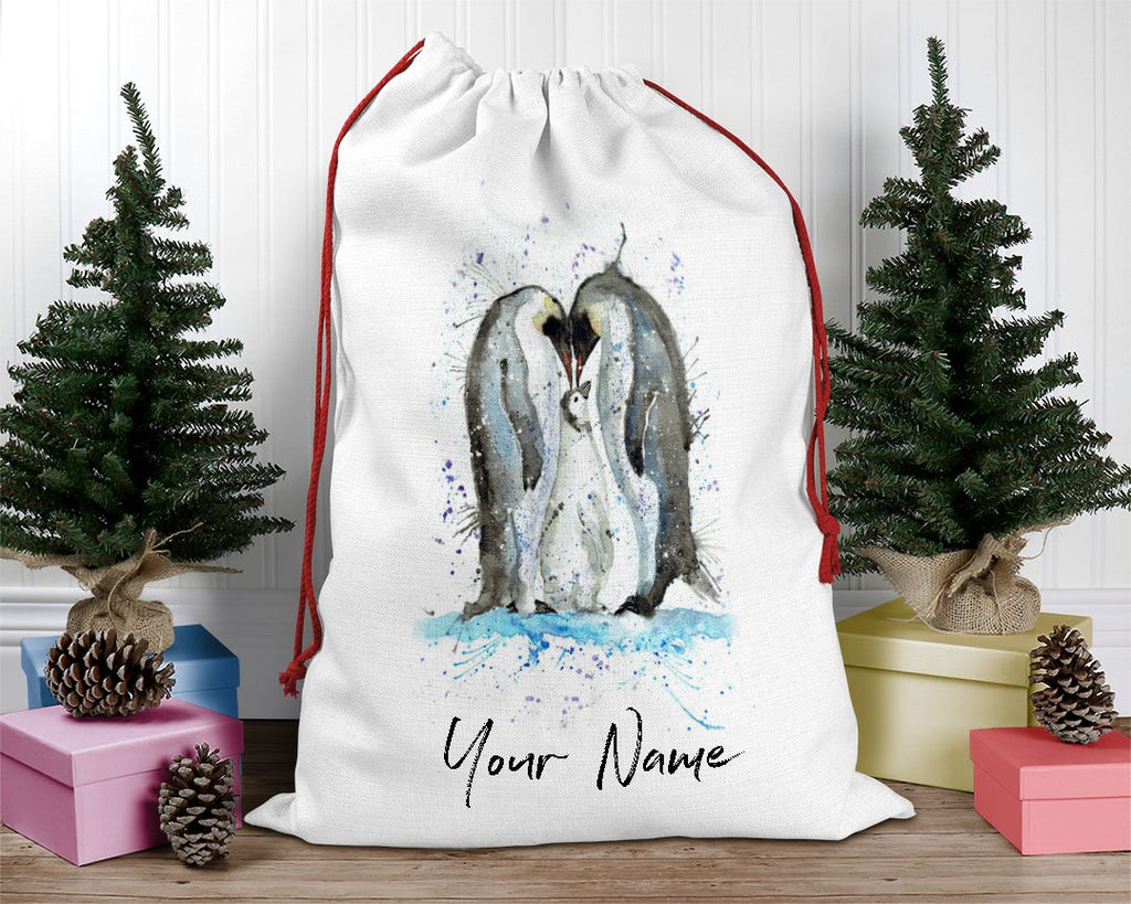 Family Penguins Personalised Santa Sack