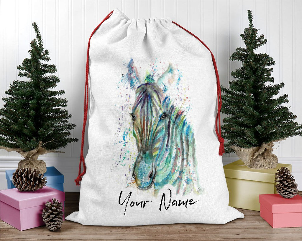 """Stripes"" Zebra Personalised Santa Sack"