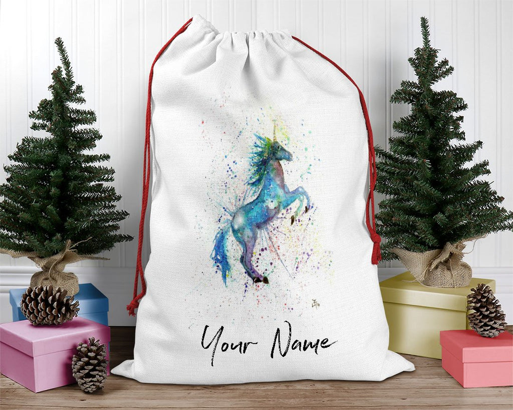 Blue Unicorn Personalised Santa Sack