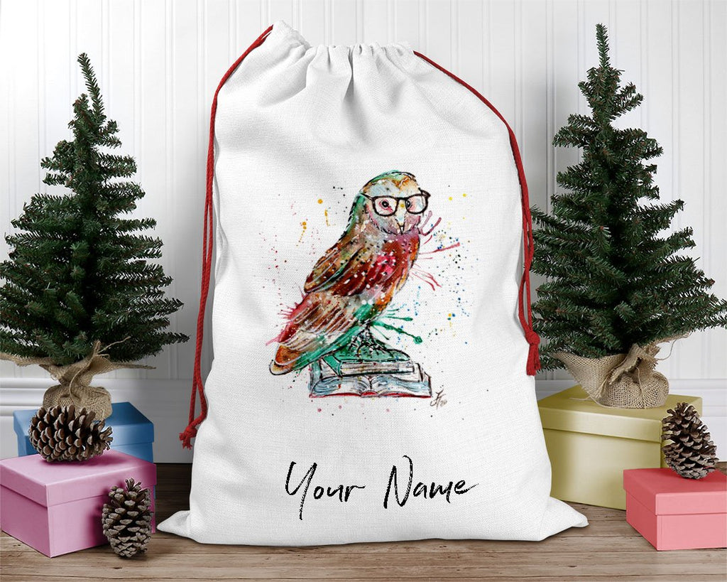 """Knowledge"" Owl Personalised Santa Sack"