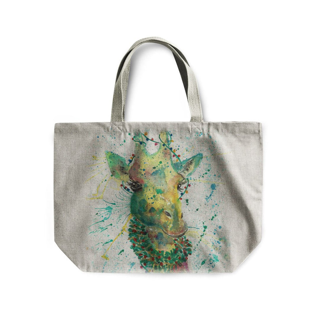 Christmas Wreath Giraffe Linen Tote Bag
