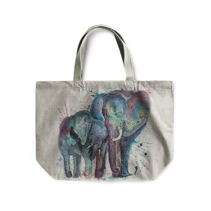 """Us"" Mummy & Babby Elephant Linen Tote Bag"