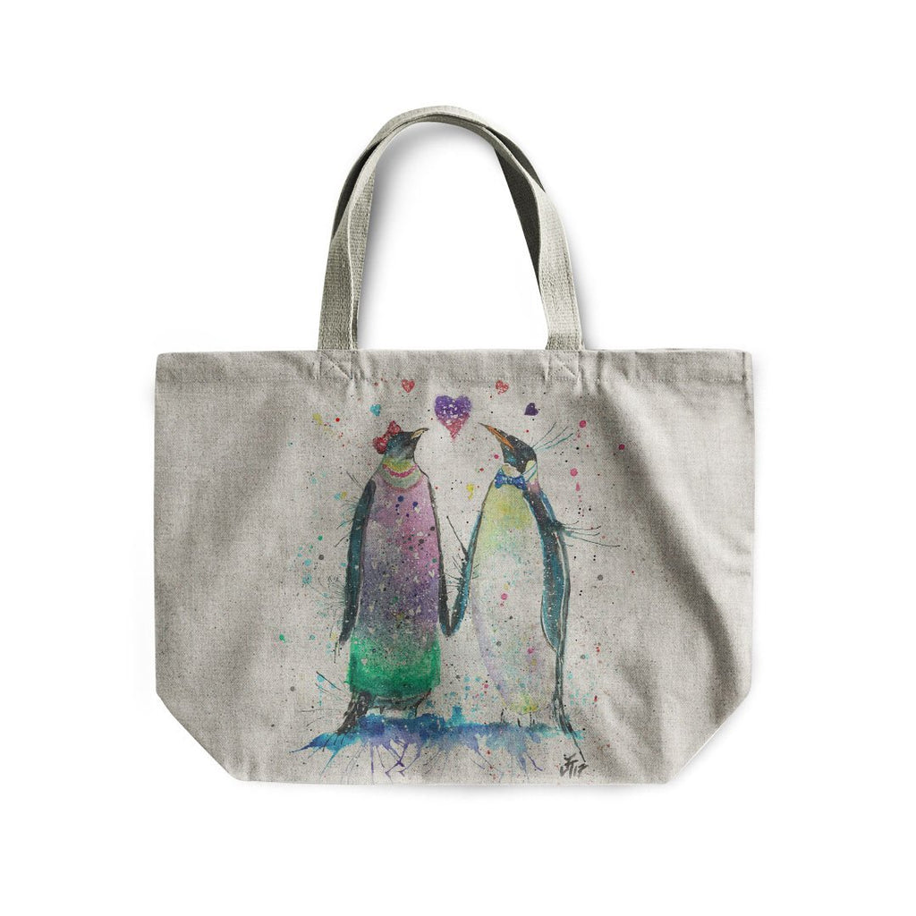 Valentines Penguins Linen Tote Bag