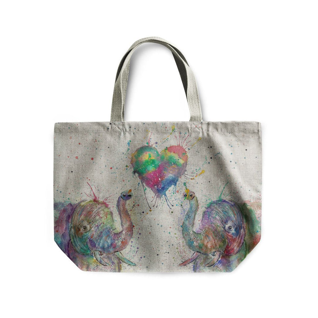 Romantic Elephants Linen Tote Bag