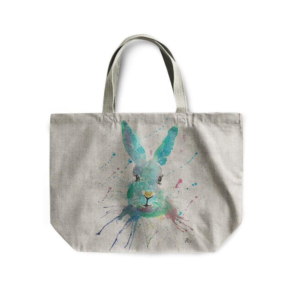 """Minty"" Hare Linen Tote Bag"