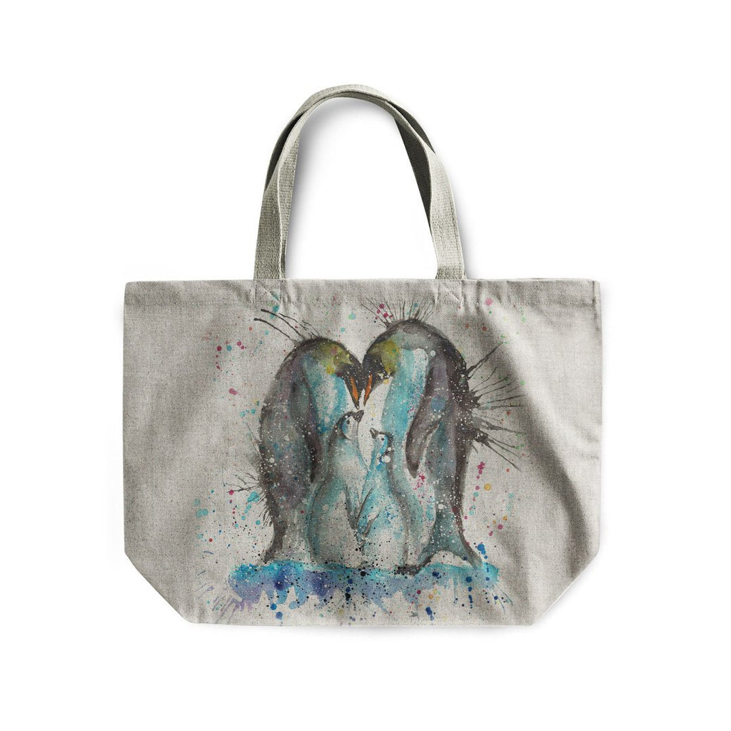 """Home"" Penguins Linen Tote Bag"