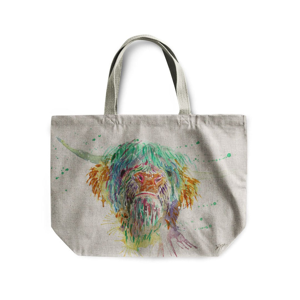 Highland Cow Linen Tote Bag