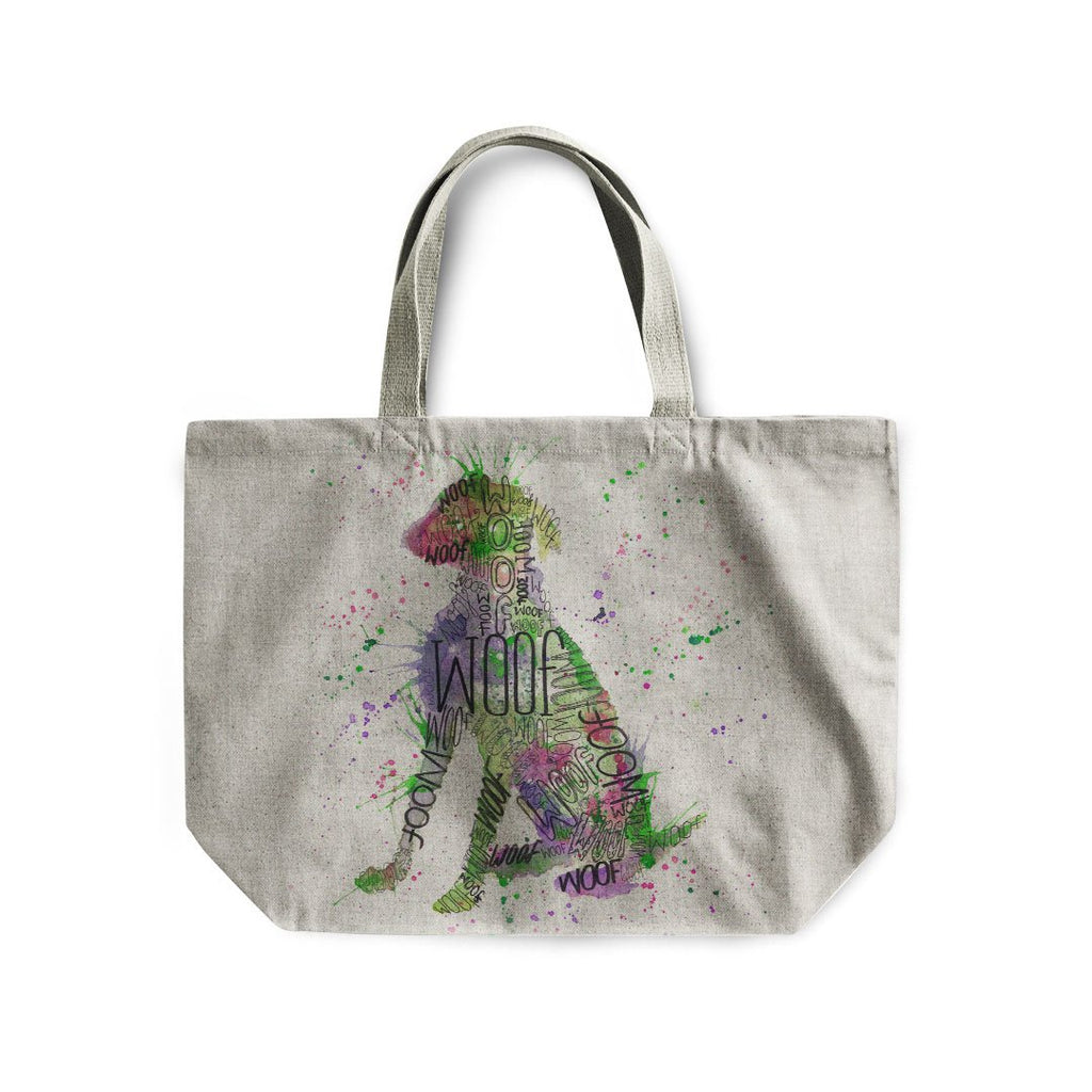 """Woof"" Green Linen Tote Bag"