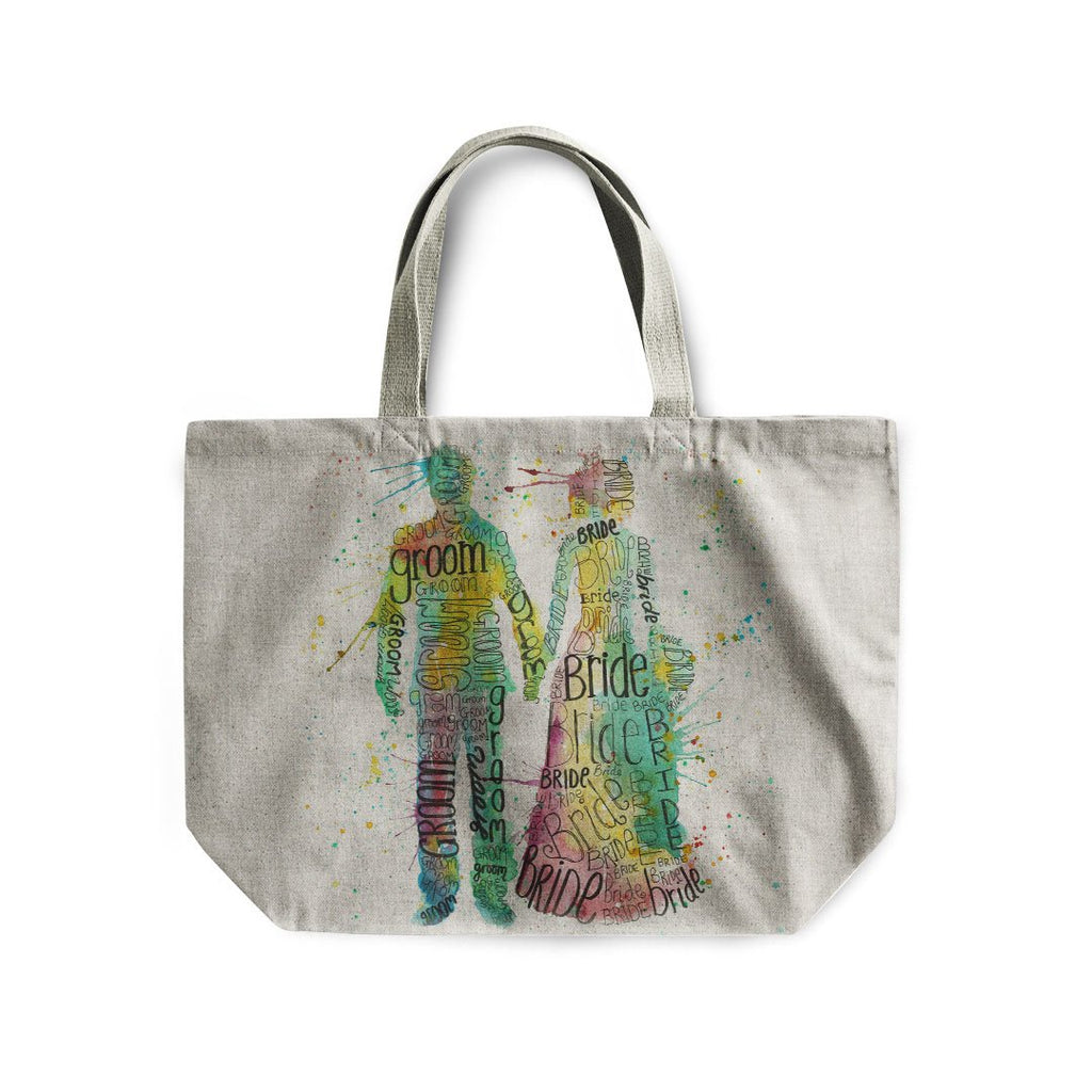 Bride & Groom Linen Tote Bag