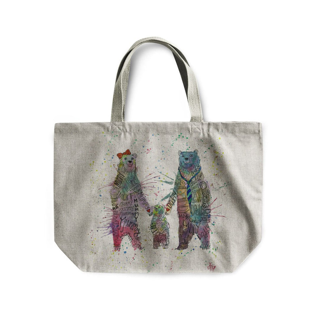 Mummy, Babby, Daddy Bears Linen Tote Bag