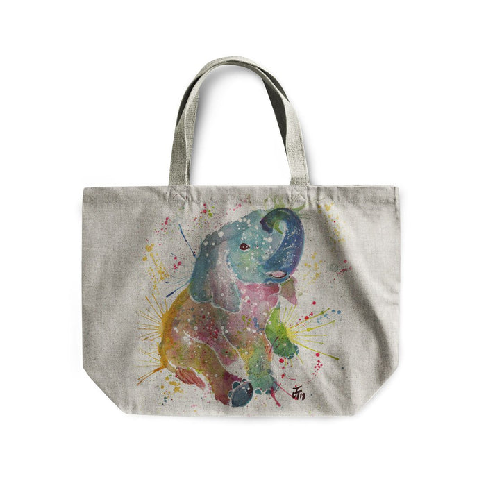 Baby Elephant Linen Tote Bag