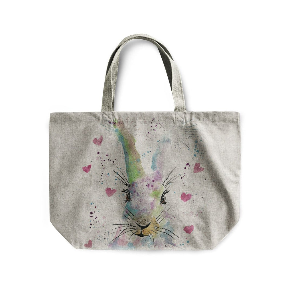 Valentines Bunny Linen Tote Bag