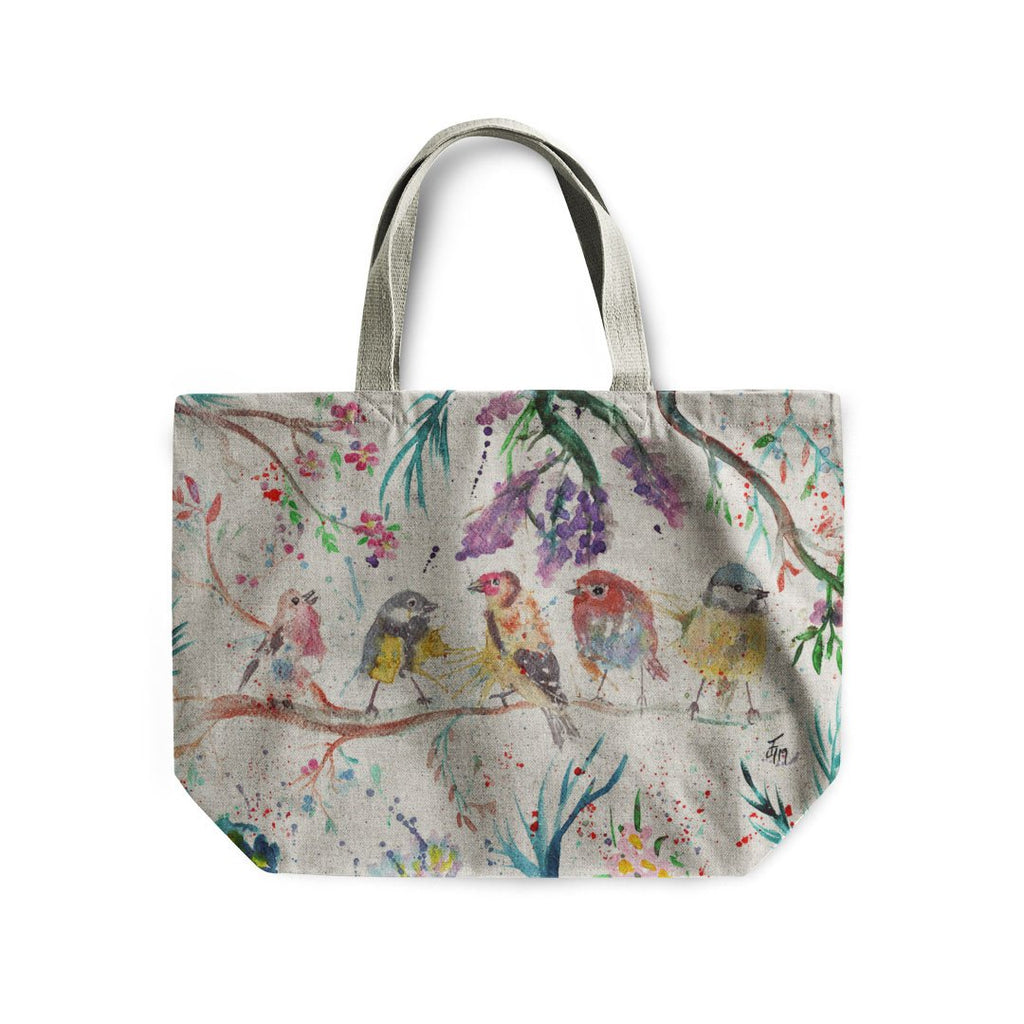 """Tree Friends"" Birds Linen Tote Bag"